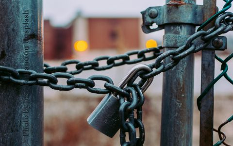locked chain link fence